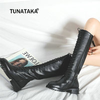 Women Cow Leather Knee High Boots Zip Lace Up Thick Heel Riding Equestrian Causal Shoes Woman