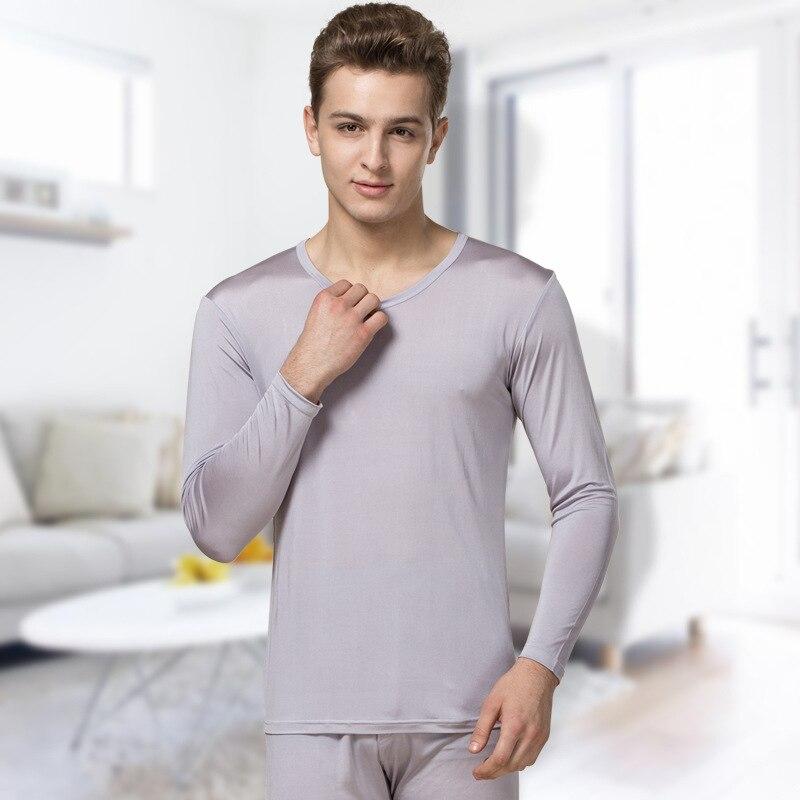 100% seda Otoño e Invierno de alta calidad de seda transpirable sección delgada ropa interior térmica conjunto de Otoño de gran tamaño para hombre ropa Pantalones