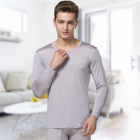 100% silk autumn and winter high grade silk breathable thin section thermal underwear set men's large size autumn clothes pants