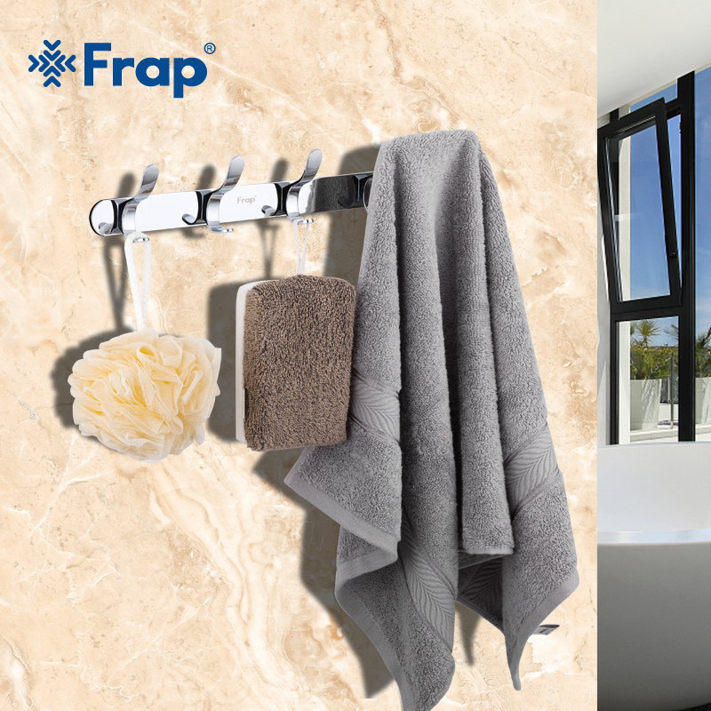 Frap High Quality Stainless steel Viscose Clothes Hook with 5 hooks Fixed Bathroom Towel Hanger hardware accessories F3815-5 hot sale 5 hooks door hook clothes hanger holder stainless steel pothook