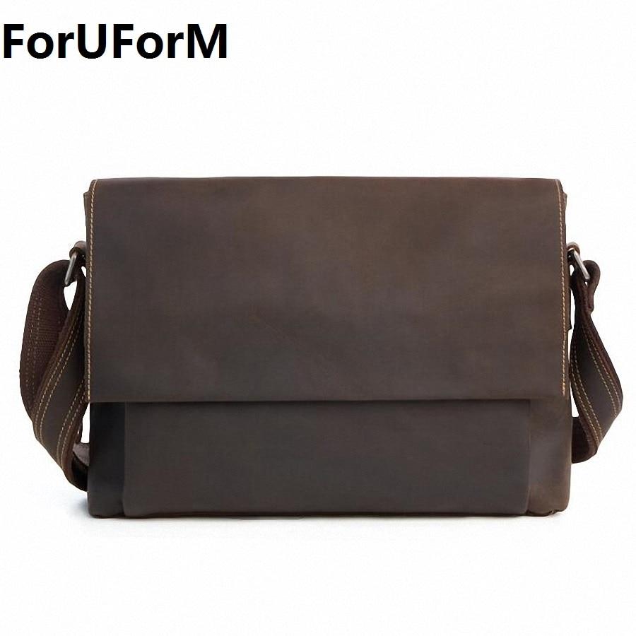 Crazy horse leather men genuine leather handbag laptop men's briefcase tote men messenger bags shoulder vintage mens bag LI-1946