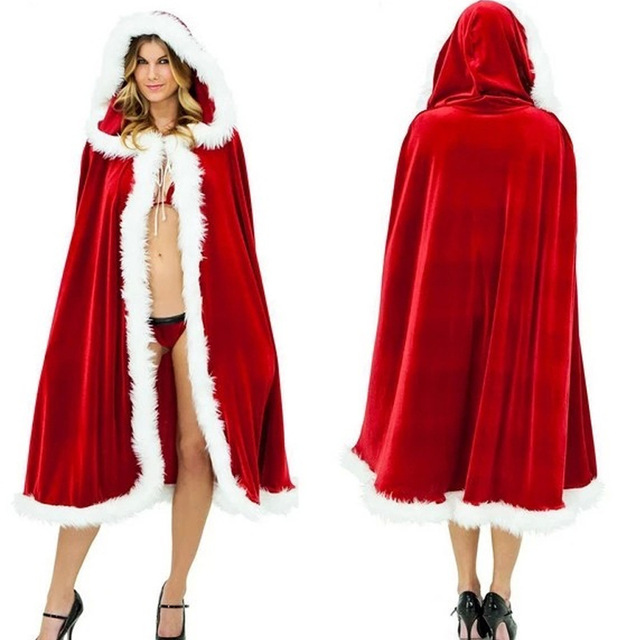 2018 New Christmas Costume For Adult Women Hooded Christmas Cloak 150CM Mrs Santa Claus Velvet Fur Cloak Capa Red Cloak Cape