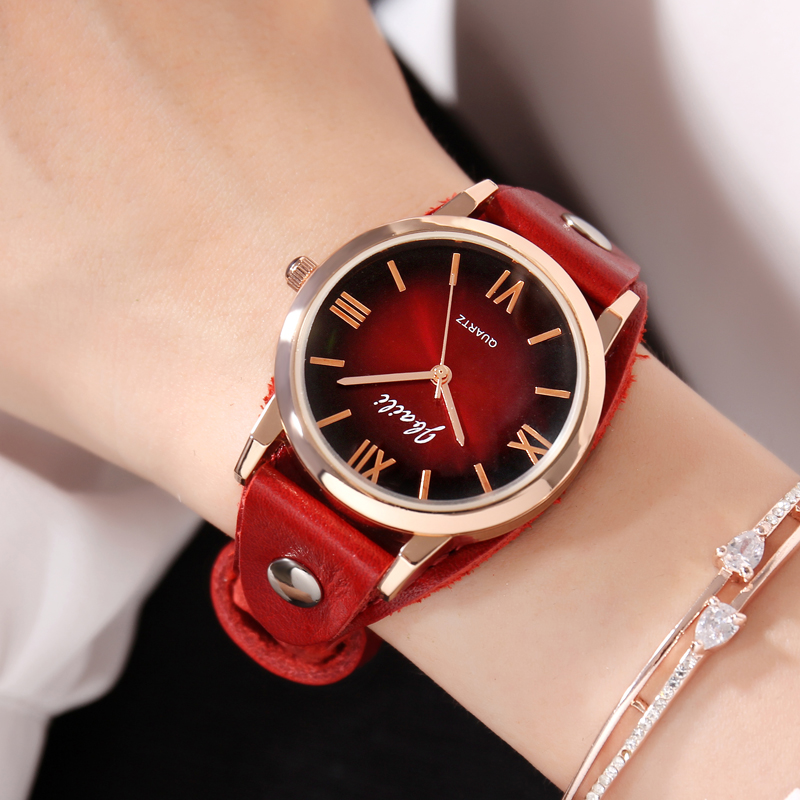Brand JBAILI Casual Women Watch Fashion Red Stage Dress Watches Leather Quartz Relogio Feminino Clock Ladies Relogio Masculino