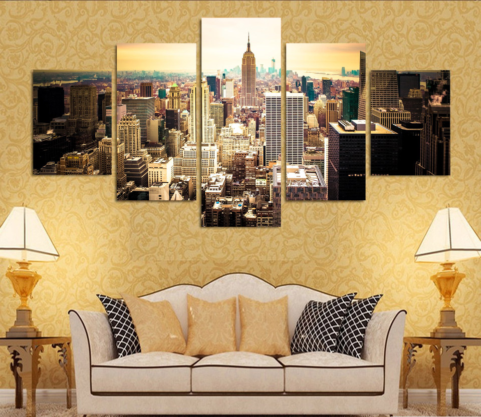 Fashion Hd Printed New York City Canvas Painting Children 39 S Room Home Decor Paintings 5 Panel