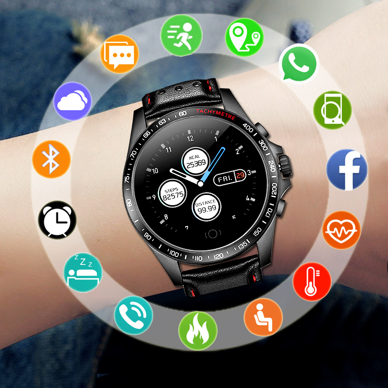 Sport Smart Watch Men For Android IOS Smartwatch Male Fitness Tracker Electronics Smart Clock Smart watch Genuine Leather Strap|Smart Watches| |  - title=