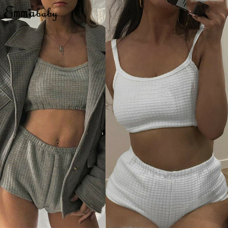 New 2Pcs Women Ladies Fashion Casual Clothing Set Sport Gym Solid Vest Sports Shorts Outfit Wear Set