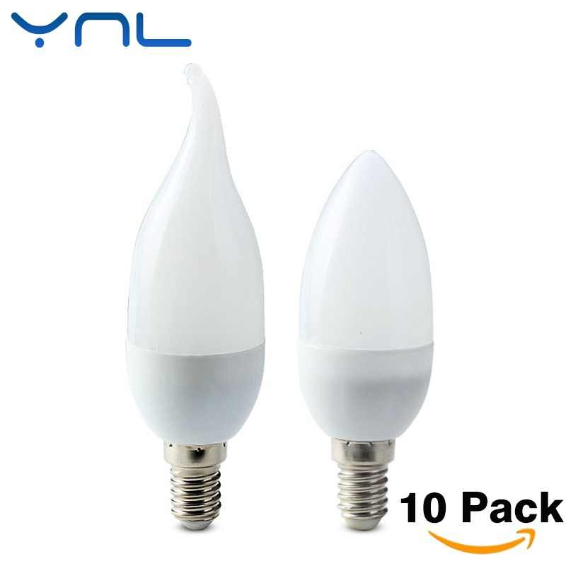 10Pcs/lot E14 LED Candle bulb AC 220V led light chandelier lamp Candle Bulbs 3W Lamps Decoration Light Warm/White Energy Saving