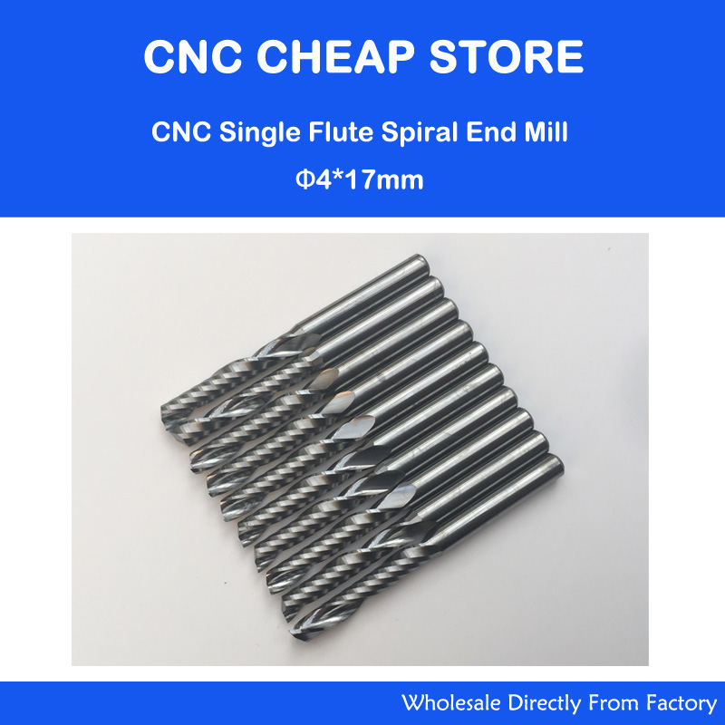 10pcs 4*17MM Single Flute Bit Carbide End Mill Set, CNC Router End Mills for Wood Cutter Milling, Acrylic Cutting Bits  2pcs 6 52mm tungsten carbide single flute milling cutter 6mm cnc mill bit wood router end mills set tools acrylic woodworking