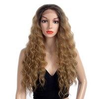 Kanekalon естественный длинные свободные глубокий светлые волнистые синтетический Синтетические волосы на кружеве парик с бесплатным часть дл