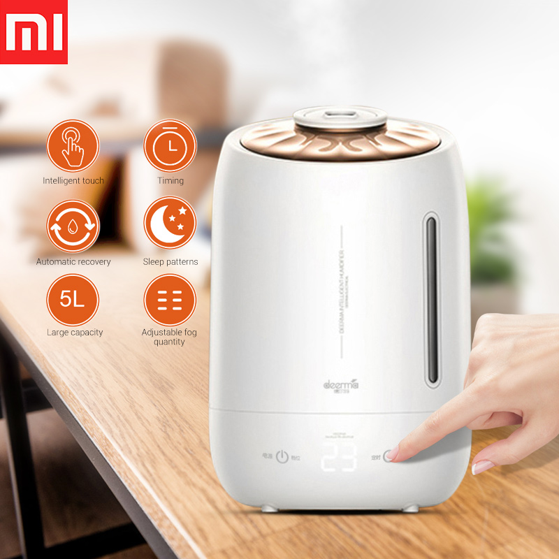 Xiaomi Deerma 5L Air Humidifier Ultrasonic Fog Quiet Aroma Mist Maker LED Touch Screen Timing Function Home Water DiffuserXiaomi Deerma 5L Air Humidifier Ultrasonic Fog Quiet Aroma Mist Maker LED Touch Screen Timing Function Home Water Diffuser