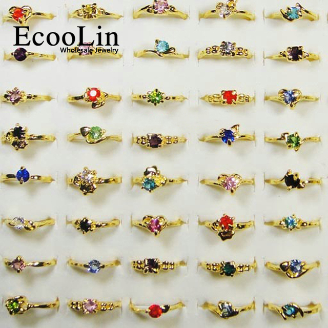 20Pcs Hot Sale Rhinestone Gold Rings For Women Fashion Cheap Wholesale Feminine