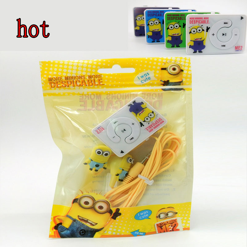MP3 Music Players TF Card With Earphone Cool New Cartoon Earphone Minions Despicable Me Superman Music Player And Packaging