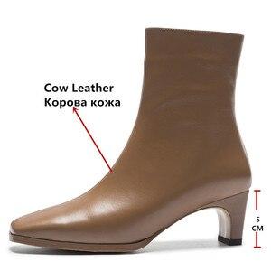 Image 3 - FEDONAS en kaliteli kadın temel çizmeler yan fermuar sıcak yüksek topuklu sonbahar kış bayanlar ayakkabı kadın seksi kare ayak ofis pompaları