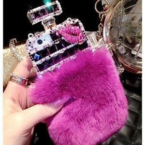 Image 3 - Kürk parfüm şişesi telefon kılıfı iPhone 11 Pro 6 6s 7 8 artı XS Max XR Samsung Galaxy s10 S20 Ultra S8 S9 not 10