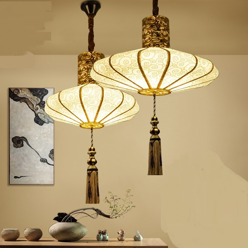 Chinese style pendant lamps cloth art creative hand painting restaurant hotel restaurant gold pendant light liginging ZA82125