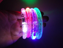 100Pcs/Lot Colorful changing LED bracelet Light up Bracelet flashing Acrylic glowing bracelets wristbands Event/Party Supplies