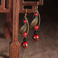 Retro National Style Bronze Colored Alloy Leaves Red Glass Long Paragraph Symmetry Earrings 2017 Earrings Wholesale