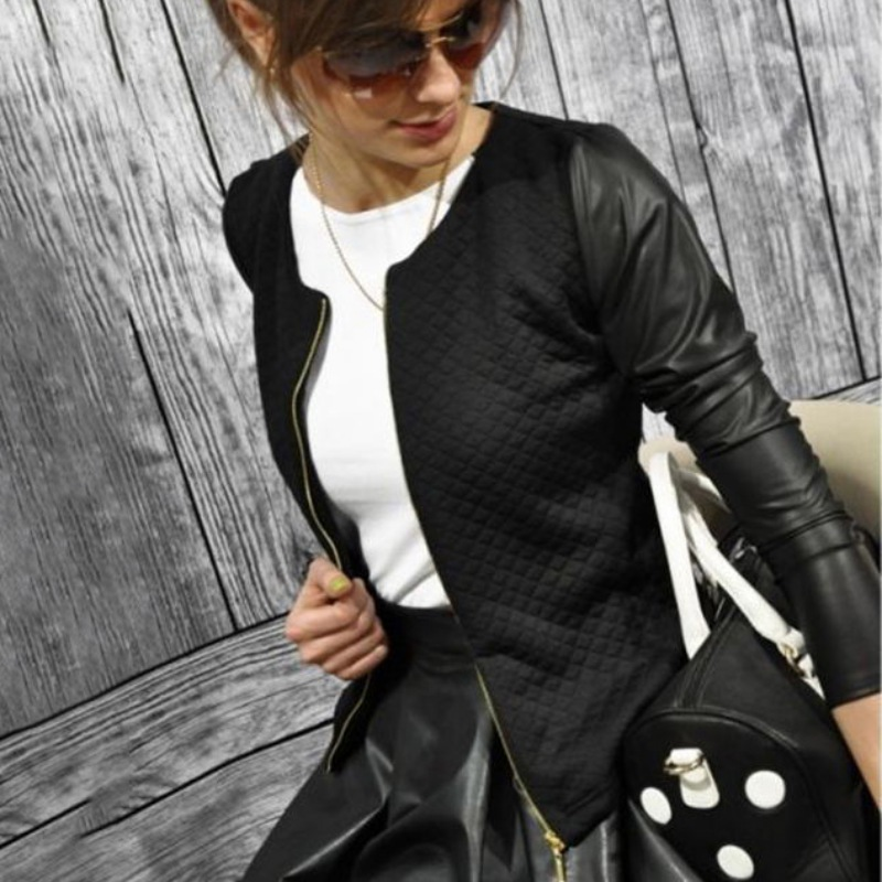 Press Cotton Leather Jackets Women Long Sleeve Autumn Winter Coat  Black White Patchwork Slim Short Jackets with Zippers F2