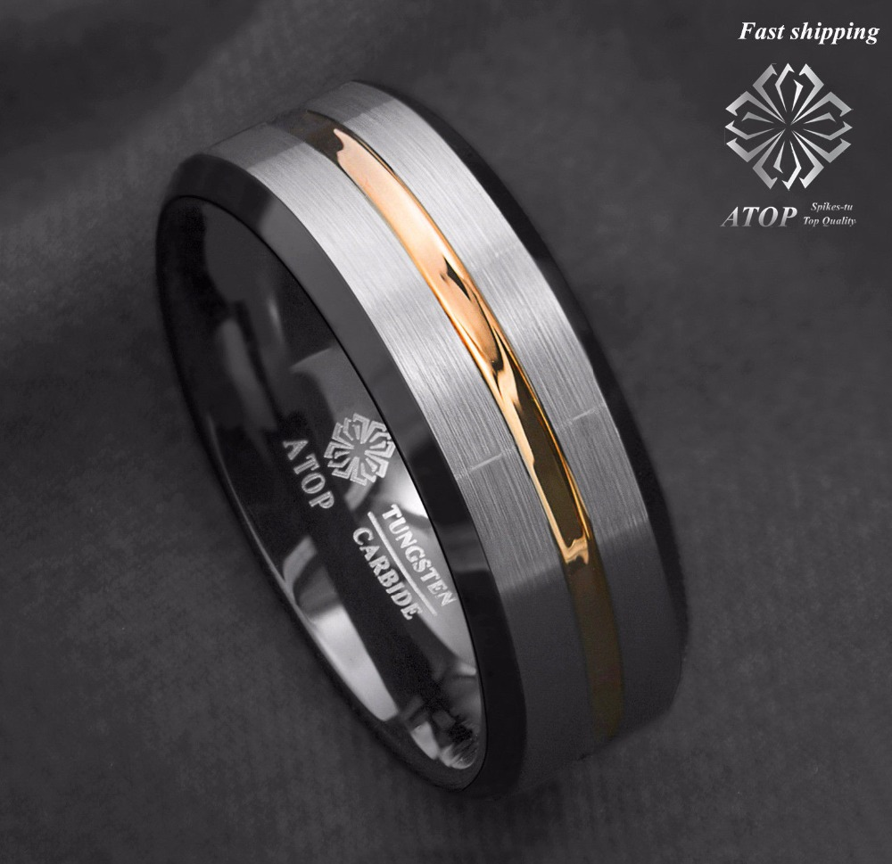 ATOP 8Mm Men's wedding band Silver brushed Black edge Tungsten ring Gold inlay Free Shipping image