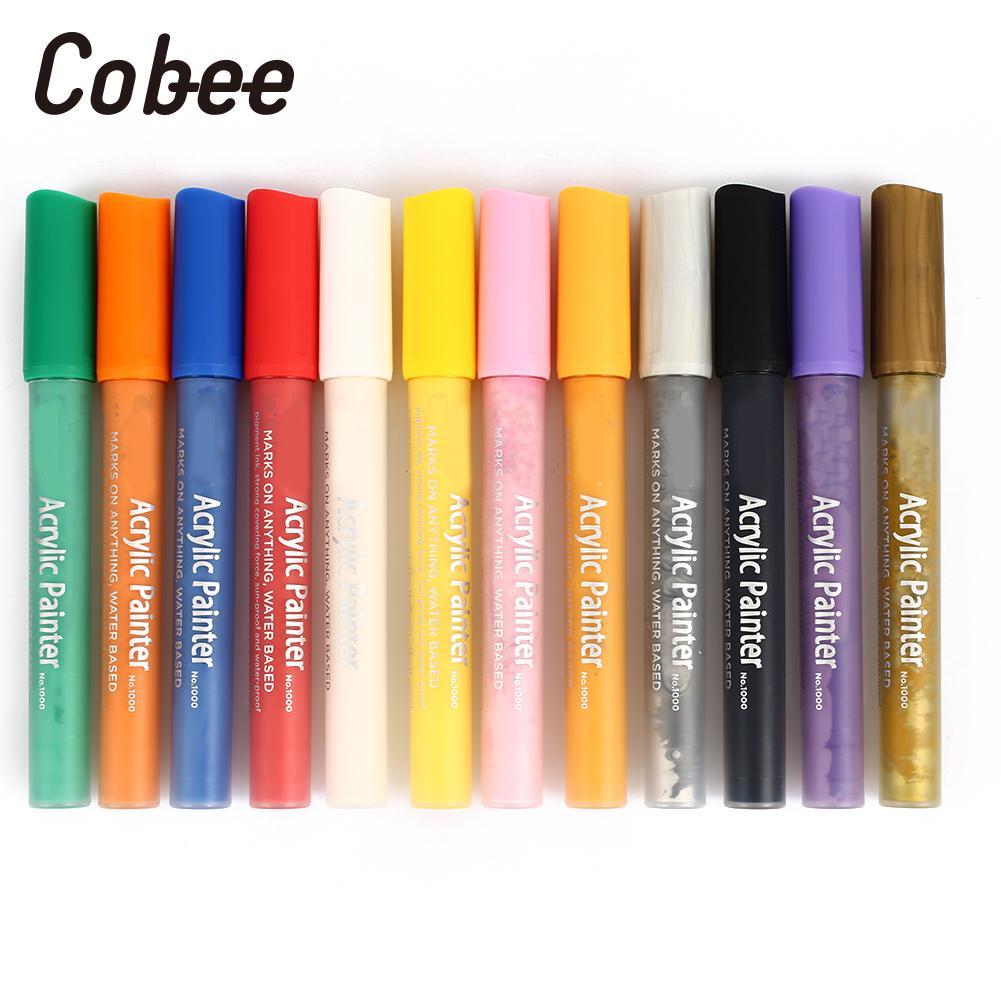цена Painting Pen Glass Acrylic Marker Pens Porcelain Acrylic Paint Pen Rock Painting A Set