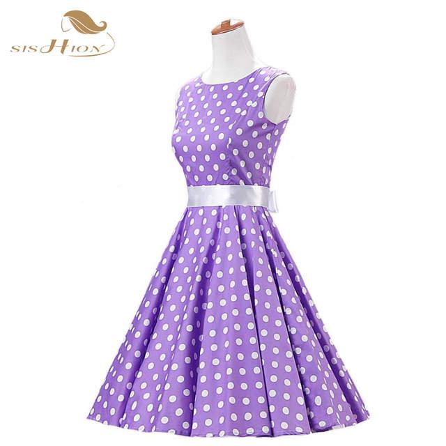 875daee31d6 SISHION 2018 Elegant Black Purple Dress Cotton Women Summer Clothing Swing  Polka Dot Elegant 50s Swing