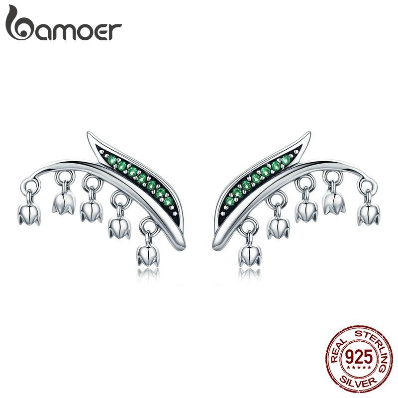 BAMOER Real 100% 925 Sterling Silver Spring Green Tree Leaves Flower Petal Tassel Stud Earrings for Women Silver Jewelry SCE298 bamoer real 100