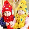 1 PCS Inverno Quente Super Proteção Da Cabeça Do Bebê gorro de lã, Bonito Da Estrela e Teste Padrão Da Coruja Chapéu Do Bebê, O Melhor Presente de Ano Novo Para meninos & Meninas