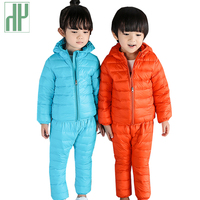 HH Kids Winter Clothes Hooded Girls Clothes Down Jacket Trousers Waterproof Snow Warm Outdoot Suits Children