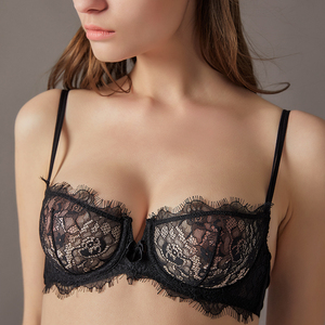 Image 4 - ACOUSMA Sexy Transparent Lace Bra and Panty Set Summer Ultra Thin Lingerie Set Demi Cup Unlined Seamless G String T Back Thongs