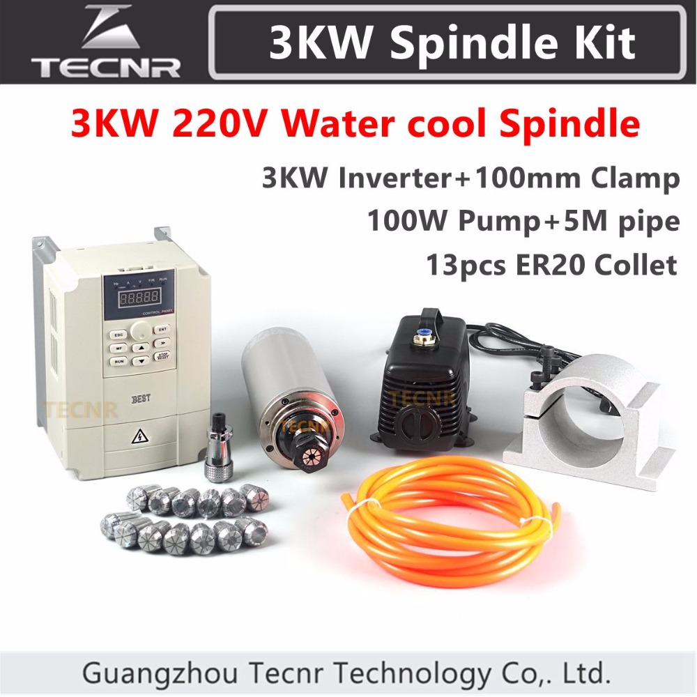 3KW Spindle Kit 3KW 220V 380V 100MM CNC Router Water Cooled Spindle Motor + VFD+100MM clamp+100W water pump/pipe+13pcs ER20 cs water cooled 3kw spindle motor sets matching 3kw inverter 1set er20 100mm mount bracket pump