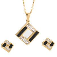 18K Gold Plated Jewelry Set 316L Stainless Steel Black And Clear Crystal Cross Earring Necklace Wedding