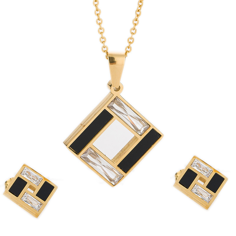 Gold-Color Jewelry Set 316L Stainless Steel Black and Clear Crystal Cross Earring Necklace Wedding Jewelry Women Set