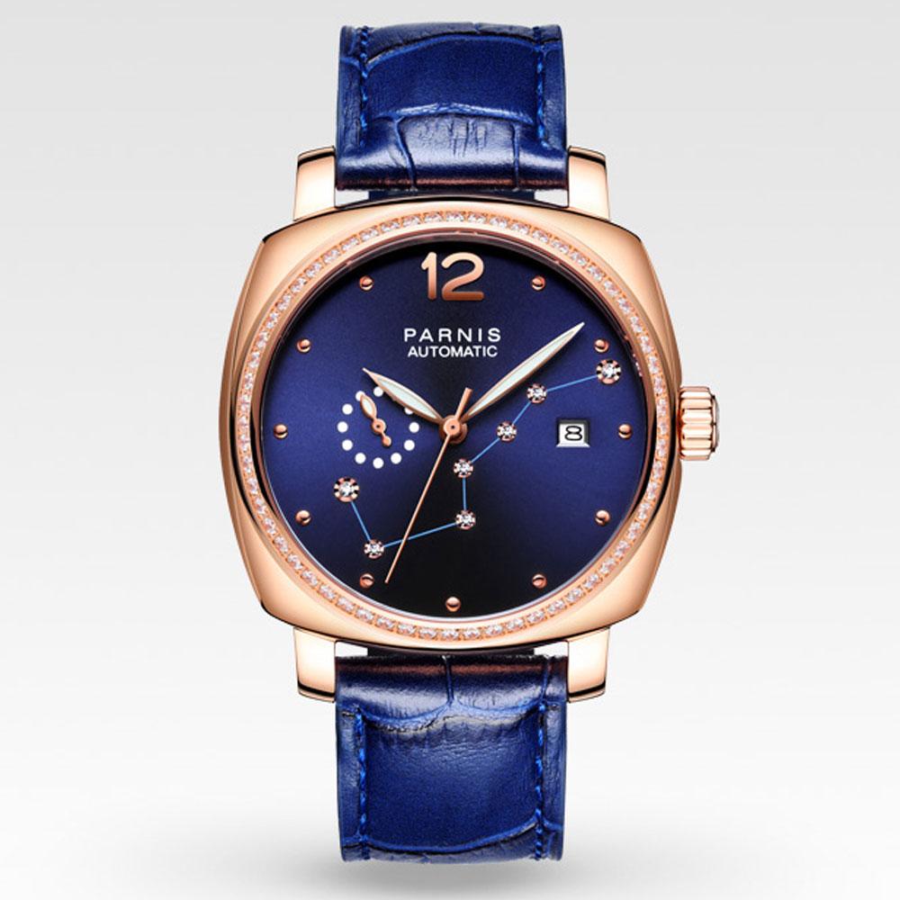 лучшая цена 39mm parnis Blue Dial Golden plated Sapphire Crystal watch Complete Calendar 21 jewels Miyota Automatic Mechanical Women's Watch