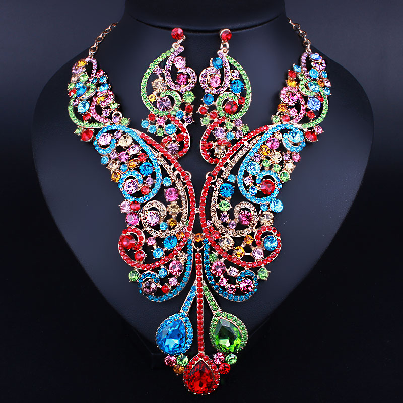 FARLENA Imitation Gold Jewelry Luxury Crystal Rhinestones Large Necklace and Earrings for Women African B chic rhinestone african plate shape pendant necklace and earrings for women
