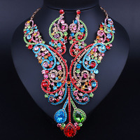 FARLENA Imitation Gold Jewelry Luxury Crystal Rhinestones Large Necklace and Earrings for Women African B
