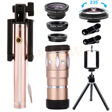 Big discount 235 degrees Phone lenses Kit 10X Telephoto Zoom Lens Telescope Wide Angle Macro Fisheye Lentes Selfie Stick For Smartphone