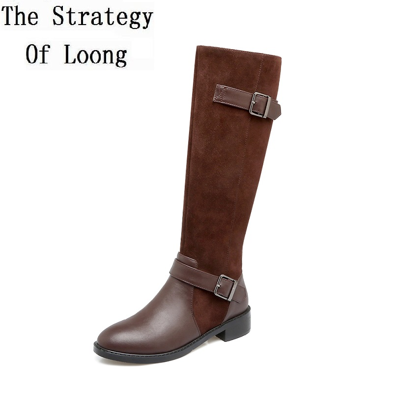 Vintage Genuine Leather Knee High Buckle Patchwork Low Heels Long Boots Spring Autumn Lady Restore High Boots 20171217 spring autumn genuine leather square heels lady martin boots retro buckle buckle high heels boots 20161222