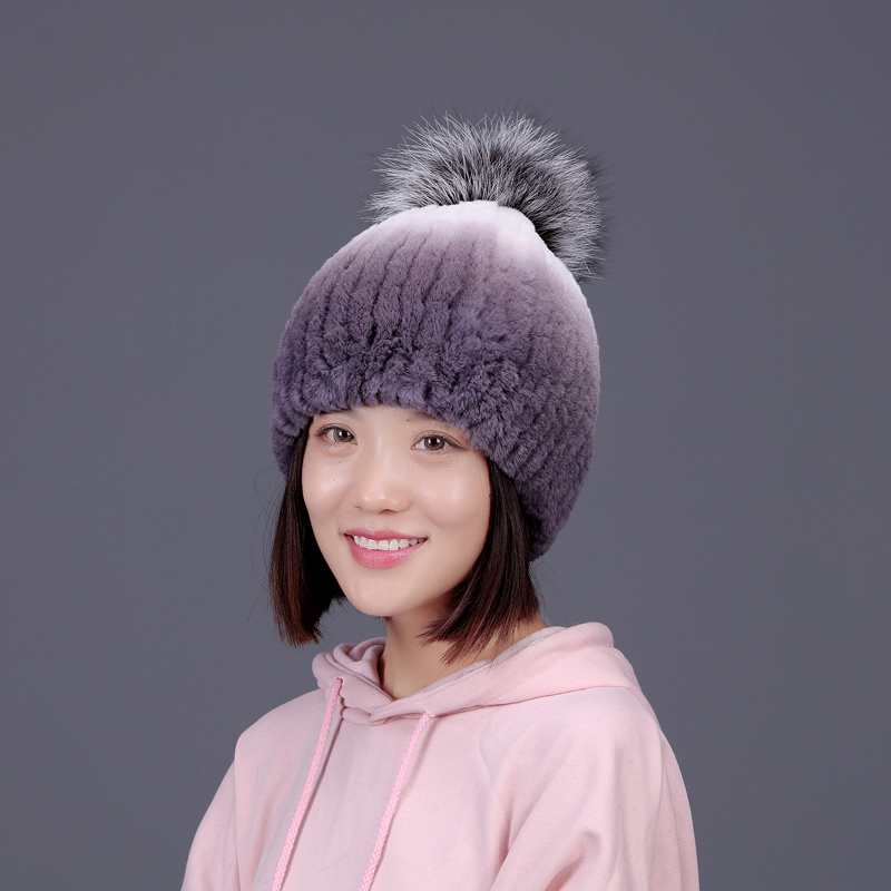 Real fur hat knitted rex rabbit fur hat for women silver Fox pom poms hat  winter beanies caps 2017 brand new fashion fur caps new star spring cotton baby hat for 6 months 2 years with fluffy raccoon fox fur pom poms touca kids caps for boys and girls