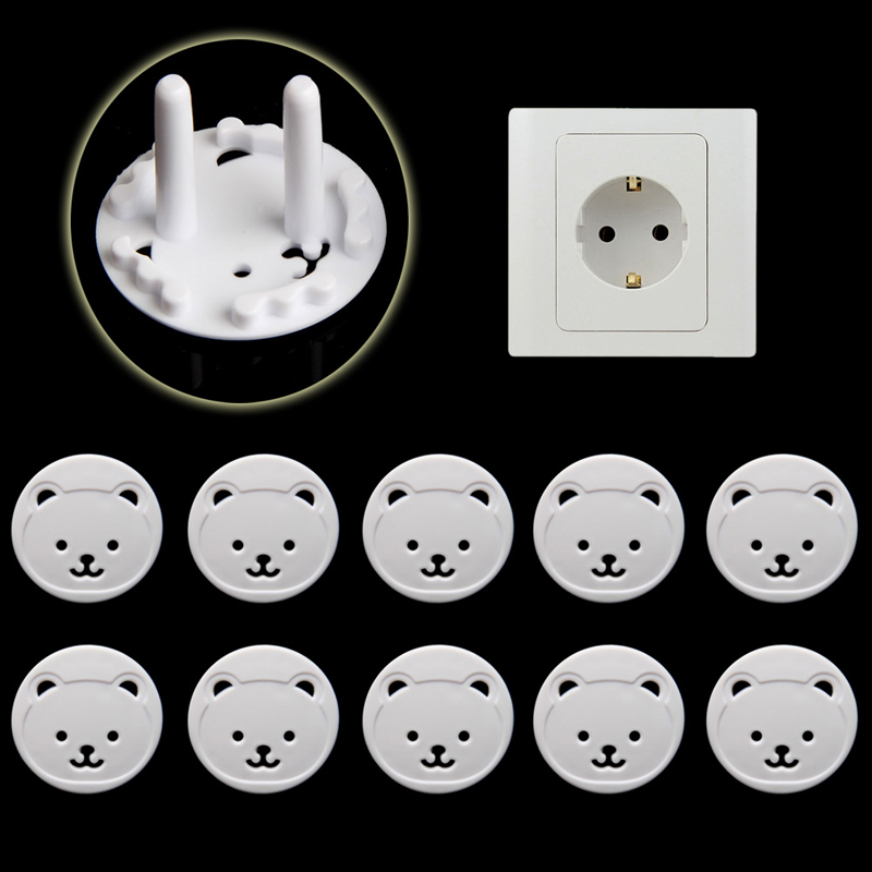 10pcs EU Stand Power Socket Cover 2 Hole Electrical Outlet Baby Child Safety Electric Shock Proof Plugs Protector Rotate Cover
