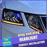2PCS Car Style LED headlights for Skoda Octavia 2018 for Octavia head lamp LED DRL Lens Double Beam H7 HID Xenon bi xenon lens