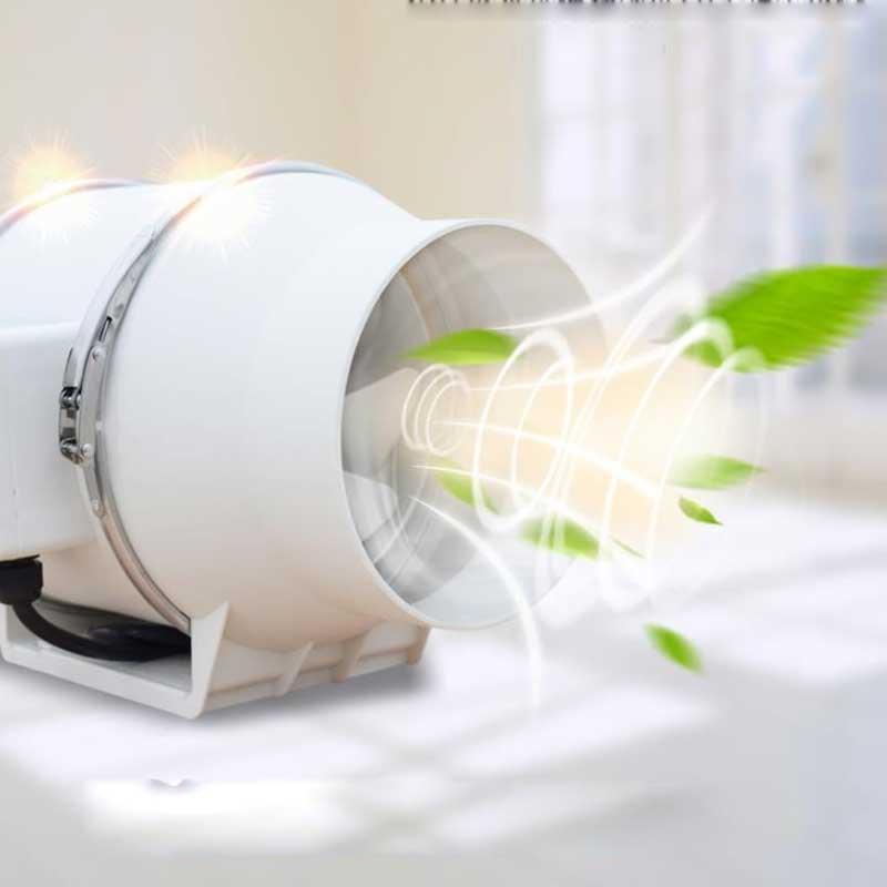 Ventilateur d'extraction de ventilateur de conduit en ligne à faible bruit de 220 V ventilateur d'air hydroponique pour l'évent de Ventilation de salle de bains à la maison et la pièce de culture