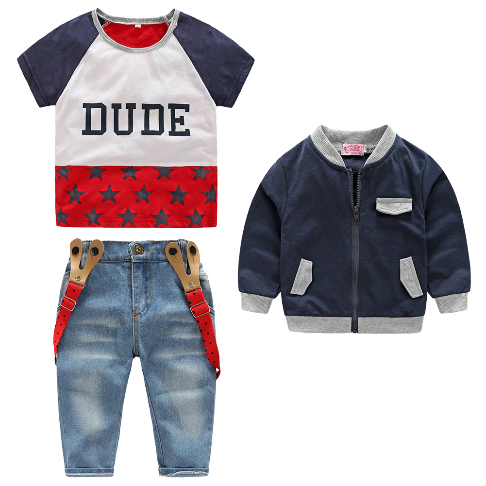 3pcs Baby Clothes Set  Kids Children Short Sleeve T-shirt Long Sleeve Zipper Coat Denim Suspender Pants Fashion Clothing Suits 2pcs children outfit clothes kids baby girl off shoulder cotton ruffled sleeve tops striped t shirt blue denim jeans sunsuit set