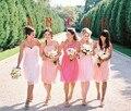 Light Pink Bridesmaid Dresses 2015 Knee Length Simple Chiffon Bridesmaid Gowns High Quality Custom Vestidos De Dama De Honor