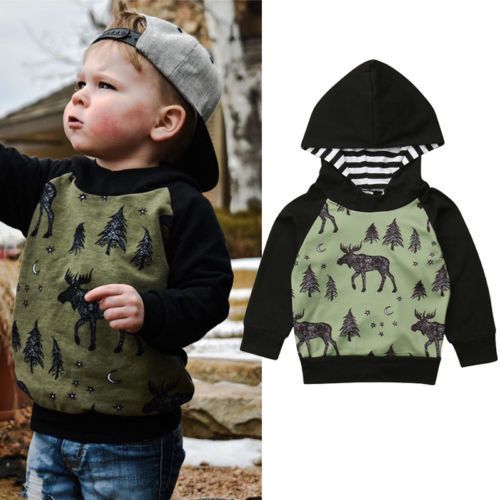 цена на 2018 Toddler Baby Boys Fall Winter Hooded Sweatshirt Boys Long Sleeves Elk Forest Print Hoodies Tops Casual Cotton Clothes 6M-4Y