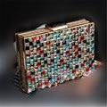 2017 Luxo Colorido Diamante Saco de Noite de Qualidade Superior Grama Strass Capina Caixa de Noiva Bolsa Bolsa Casual Retalhos Bolso Embreagem