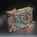 2017 Luxury Colorful Diamond Evening Bag Top Quality Grass Rhinestone Weeding Bride Box Handbag Purse Casual Flaps Clutch Bolso