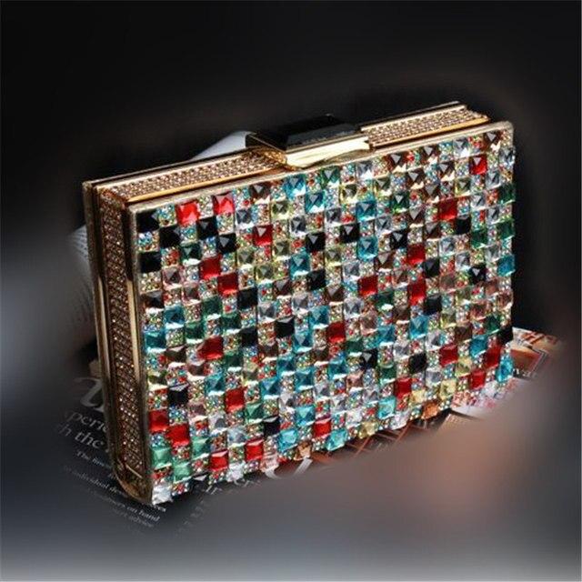2017 Luxury Colorful Diamond Evening Bag Top Quality Grass Rhinestone Weeding Bride Box Handbag Purse Casual Flaps Clutch Bolso