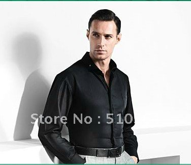 Buy wholesale design cotton custom made for Black shirt business casual
