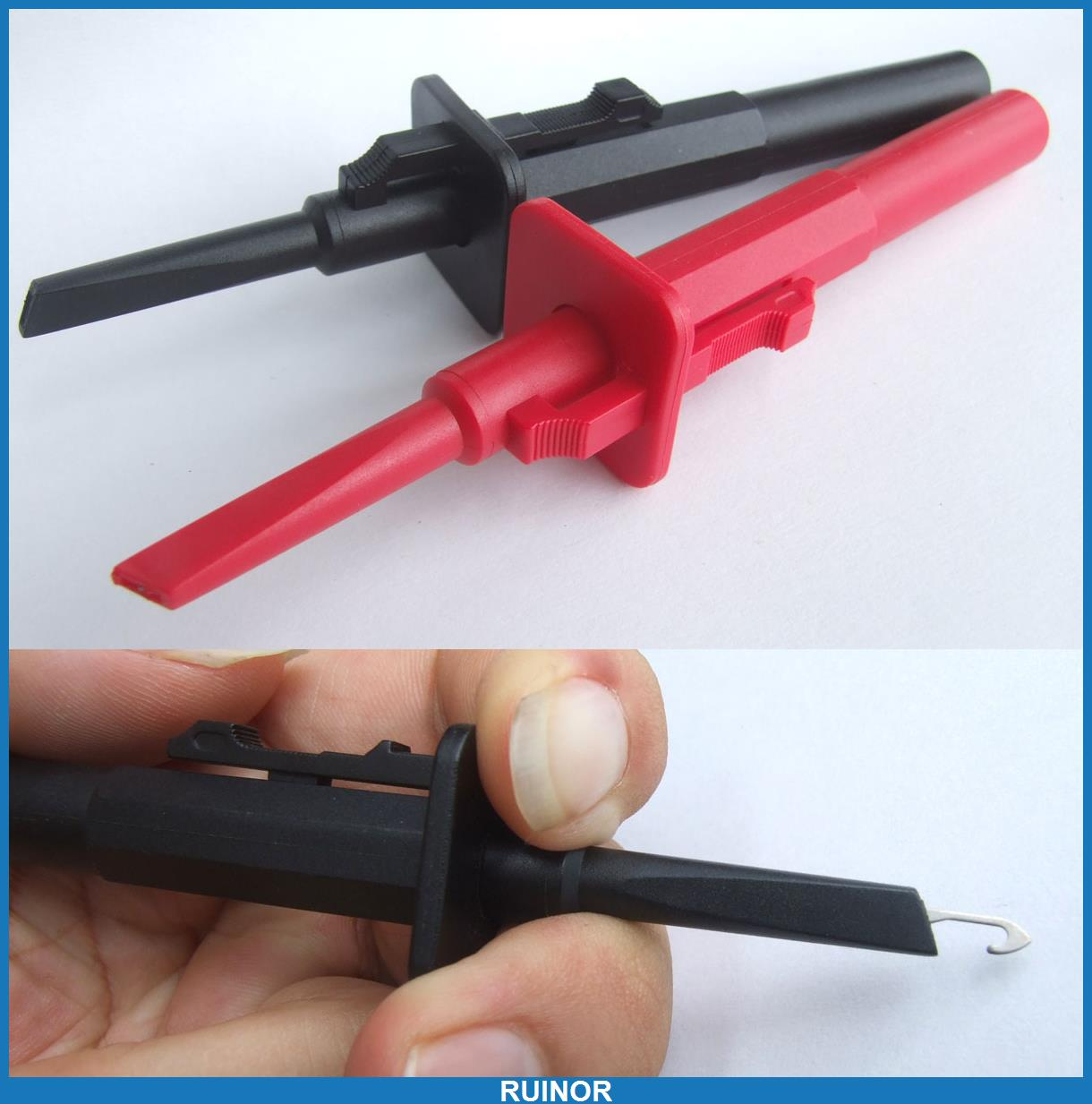 ФОТО 2pcs 1000V 10A Safe Fast Test Hook Clips Probes Adapter for Car 4mm Banana Plug