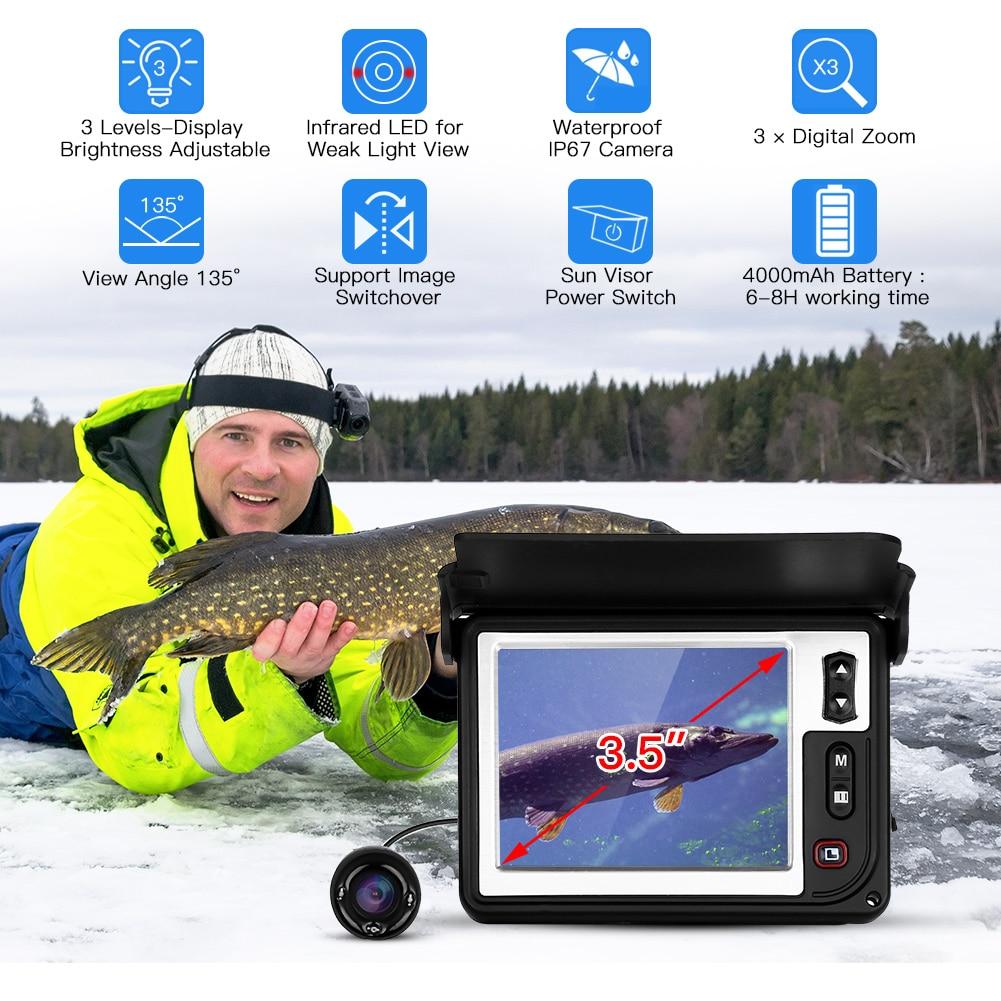 Eyoyo 15 М Подводная рыболовная камера 3,5 дюймов портативный рыболокатор 1000TVL HD CAM w/IR Инфракрасный светодиодный видеокамера